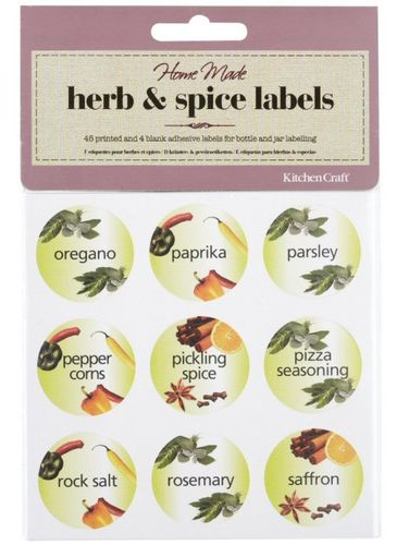 45 Decorative Herb & Spice Labels for Bottles & Jars, Self Adhesive