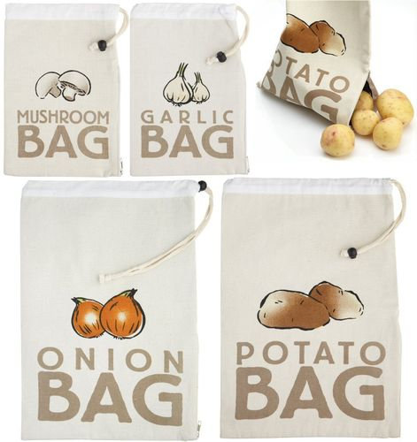 Canvas Vegetable Storage Bags - Stay Fresh Bags - Potatoes Onions…