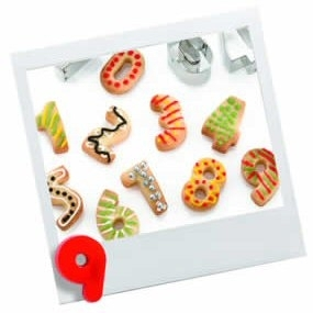 METAL NUMBER CUTTERS & STORAGE TIN - Biscuit, Pastry, Sugarcraft, Cookie Cutters