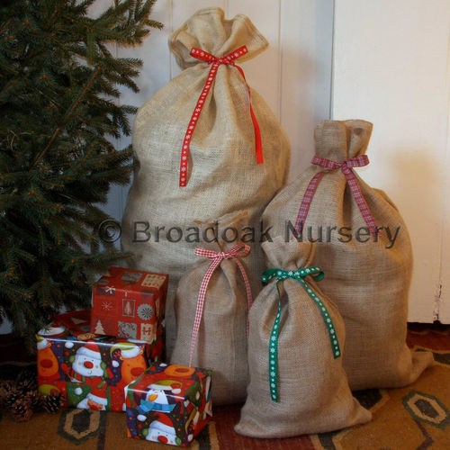 Rustic Christmas Hessian Sack & Ribbon, Close Weave Gift Bag, Stocking