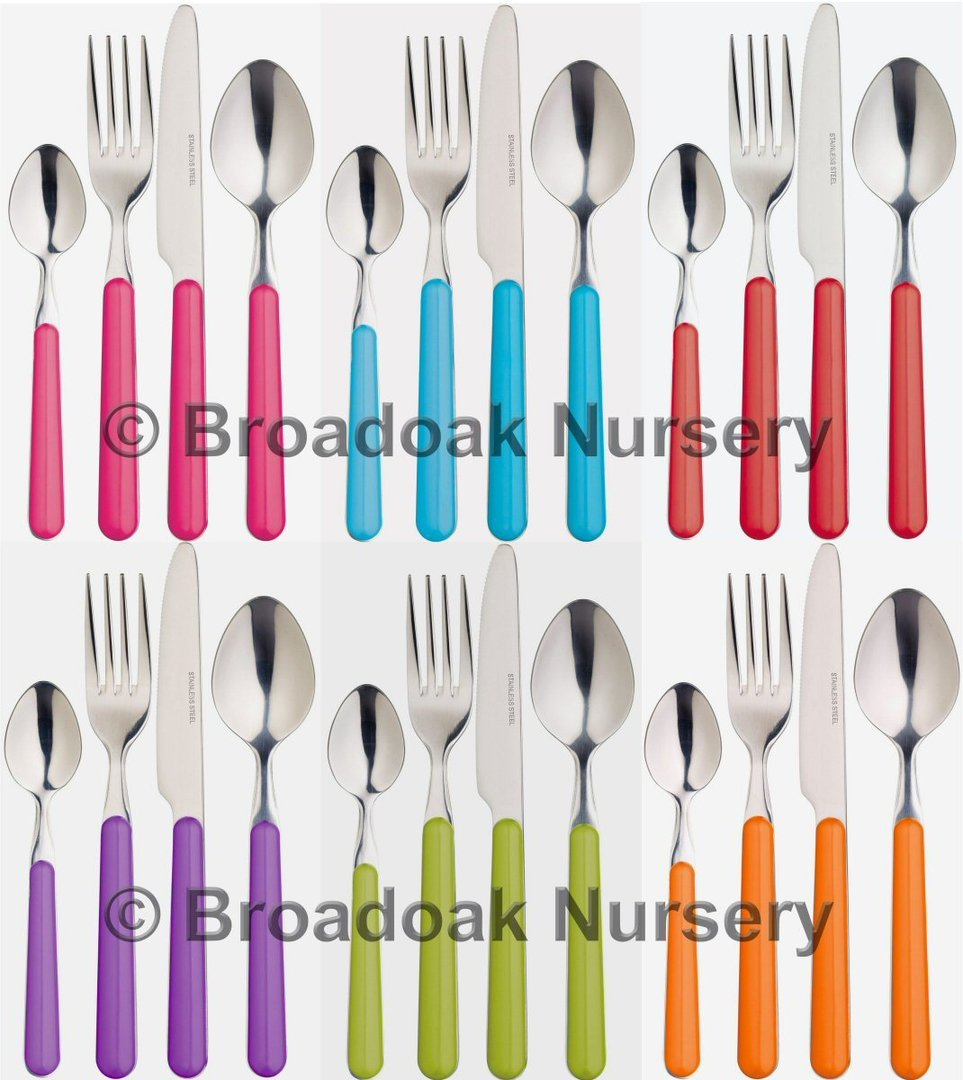 Colourful Stainless Steel Cutlery - Everyday Picnic C&ing Party ...  sc 1 st  Broadoak Nursery & Colourful Stainless Steel Cutlery Everyday Camping Party Broadoak