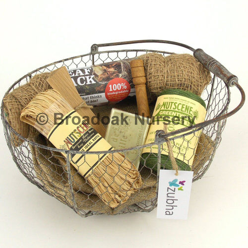 Gardeners Gift Set - Basket, Hessian Sacks, Twine, Allotment