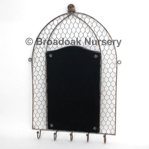 Rustic Metal Wire Mesh Memo Board, Vintage, Notice, Chalk, Blackboard, Key Hooks