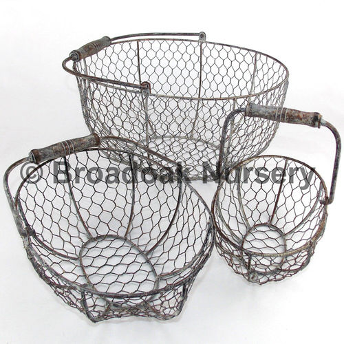 Rustic Metal Wire Mesh Storage Basket - Oval, Rustic, Vintage, Wedding, Kitchen