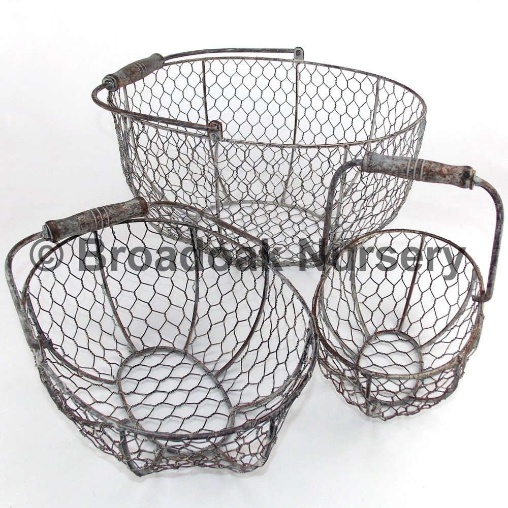 Rustic Metal Wire Mesh Storage Basket Vintage Wedding Kitchen