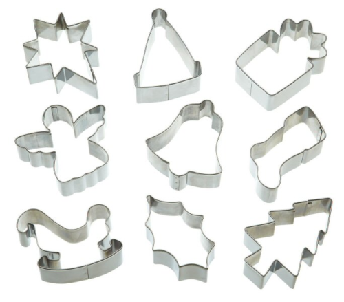 9 Metal Christmas Cookie Cutters - Biscuit & Pastry Cutters