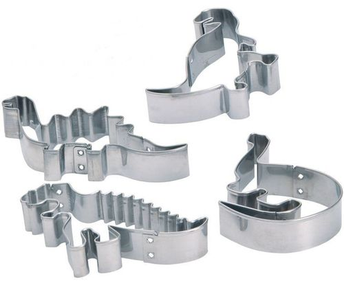 4 Metal Dinosaur Cutters - Dino Cookie Cutters, Biscuit, Dough