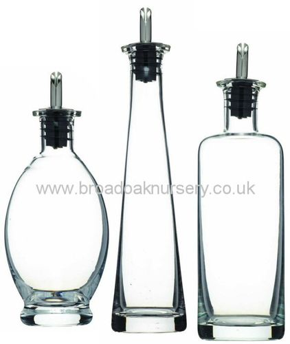 Glass Oil & Vinegar Bottle with Drizzler Pourer Spout - Various Sizes