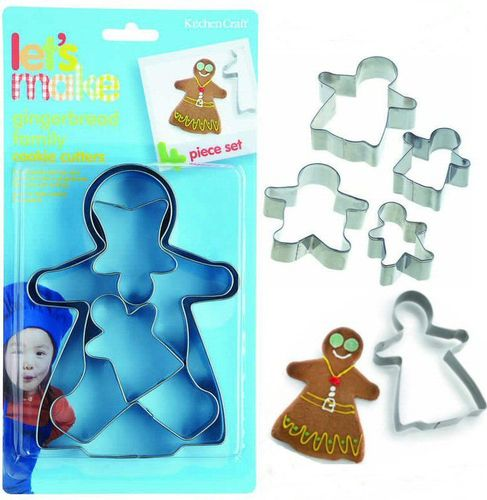 4 Metal Gingerbread Man Family Cookie Cutters - Biscuit, Pastry, Dough