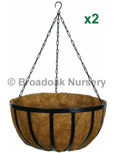 "2 x 12"" (30cm) Metal Hanging Basket Kits incl. Coco Liners, Chains"