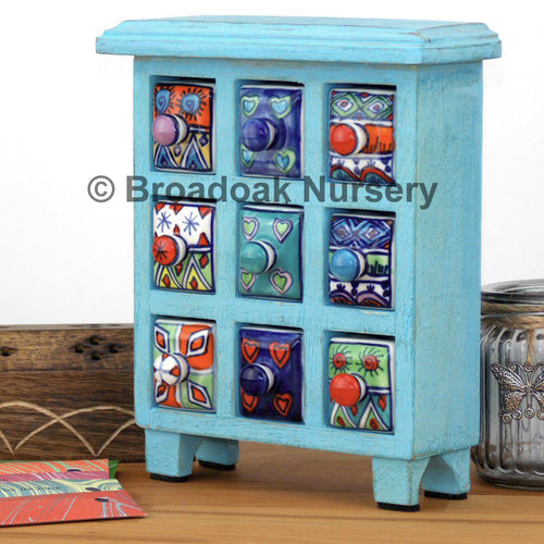 Fair Trade Blue Wooden Storage Chest 9 Ceramic Drawers, Spice, Trinket