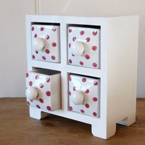Fair Trade Wooden Trinket Chest with 4 Ceramic Drawers, Pink