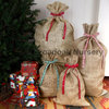 Christmas Hessian Sack + Ribbon, Close Weave Gift Bag, Stocking, Santa