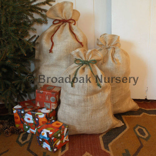 Rustic Christmas Hessian Sack with Tie Top, Jute Gift Bag, Stocking