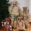 Christmas Hessian Sack + Tartan Ribbon, Close Weave Gift Bag, Stocking