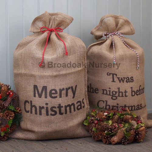 Large Christmas Hessian Sack with Bakers Twine, Gift Bag, Stocking, Santa