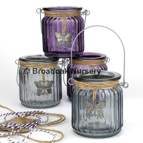 Beautiful Butterfly Tealight Holder, Glass Candle Holder