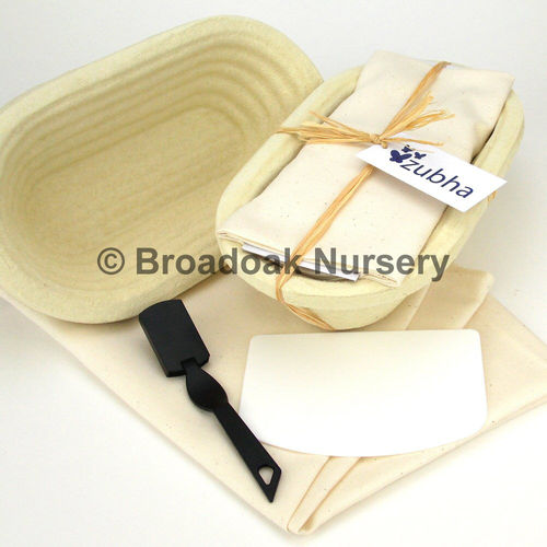 Bread Making Kit, Long Oval Banneton, Dough Scraper, Proving Cloth, Baking