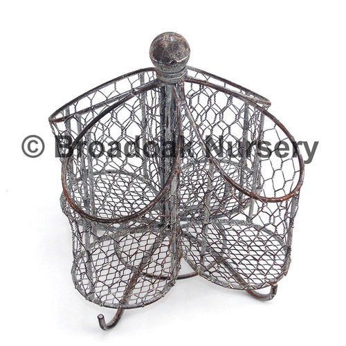 Rustic Metal Wire Mesh Utensil Holder, Vintage Style, Traditional