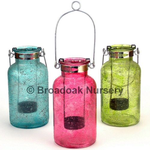 Colourful Glass Tealight Holder, Hanging Candle, Garden, Patio