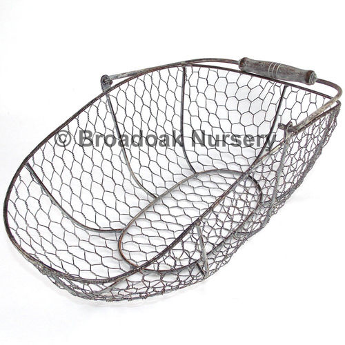Rustic Metal Wire Mesh Storage Trug - Oval, Rustic, Vintage, Wedding, Kitchen