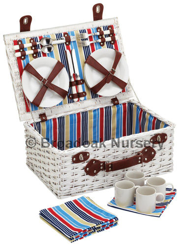 Marina 4 Person Picnic Basket - Nautical - Fitted Wicker Hamper