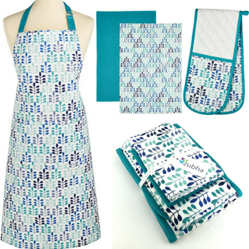 Teal Leaf Kitchen Textile Set - Apron, Oven Glove, Tea Towels - Gift Set