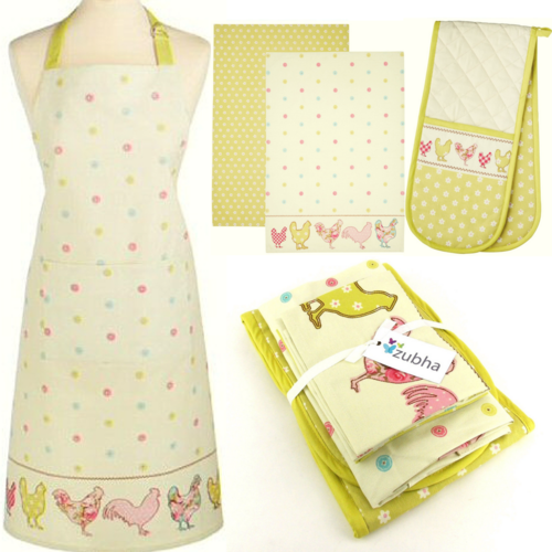 Chicken Kitchen Textile Set - Apron, Oven Glove, Tea Towels - Gift Set