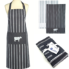 Butchers Kitchen Textile Set - Apron & 2 Coordinating Tea Towels - Gift Set