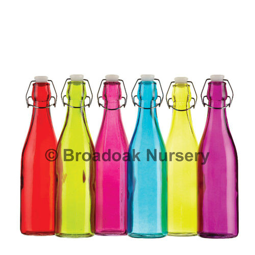 Coloured Glass Bottle 500ml, Flip Top Drink Bottle, Water, Cordial