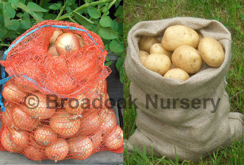3 Jute Hessian Potato Sacks 5kg & 3 Onion Nets 5kg