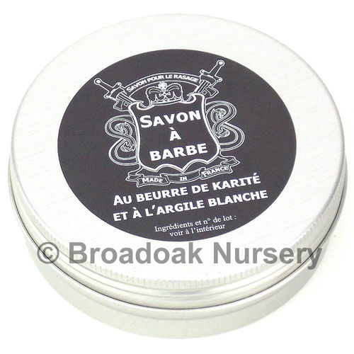 Savon a Barbe French Shaving Soap in a Tin 100g with shea butter & white clay