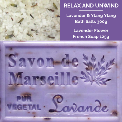 Lavender Savon de Marseille Soap + Dead Sea Bath Salts