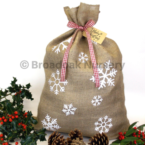 Snowflake Printed Christmas Hessian Sack with Ribbon & Tag, Santa Sack