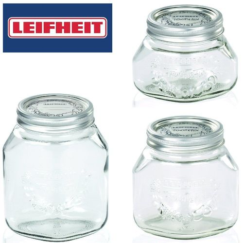 Leifheit Screw Top Preserve Jar, Wide Mouth Jar for Preserves